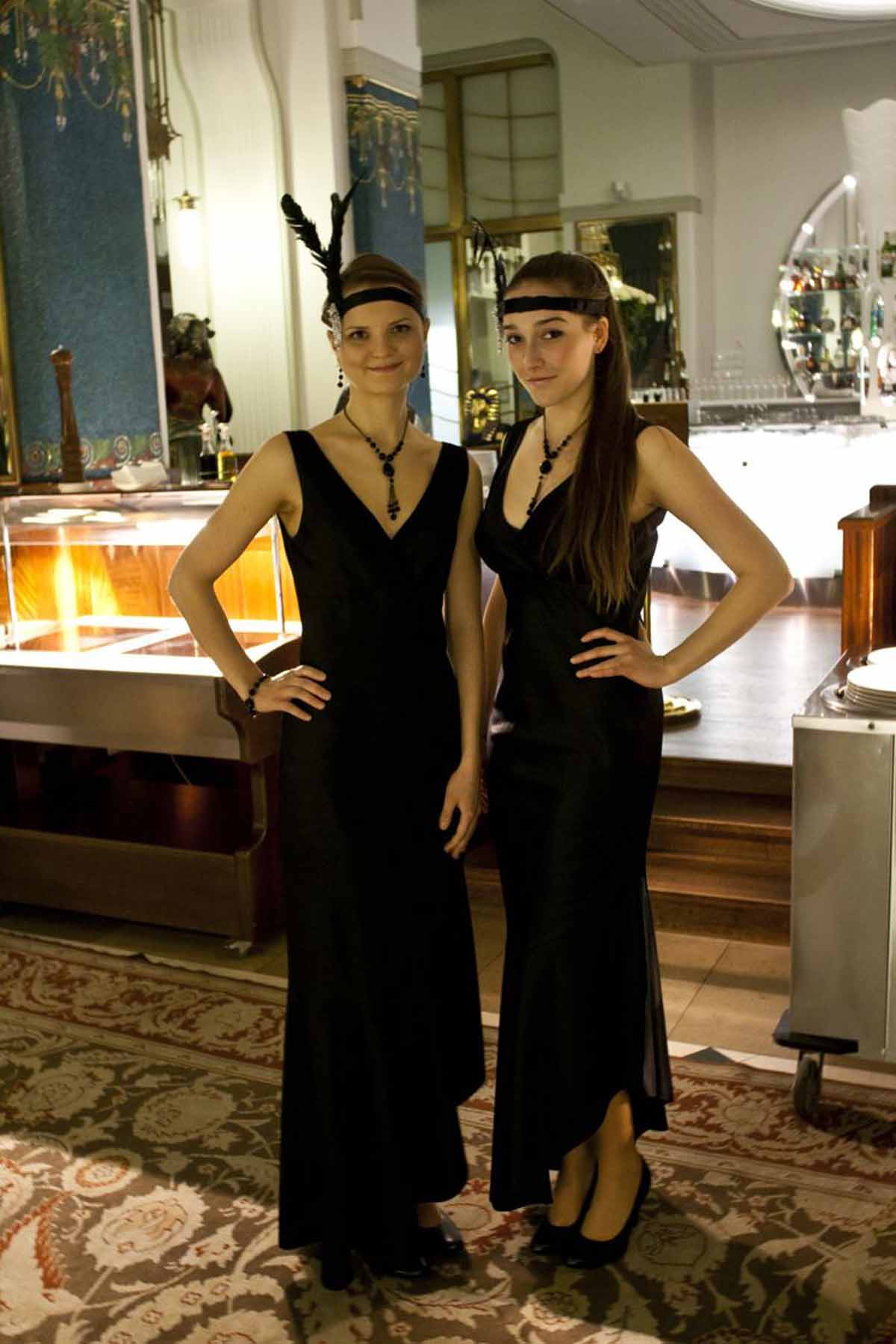 Beautiful hostesses in stylish costumes at Prague gala event managed by Maxin PRAGUE
