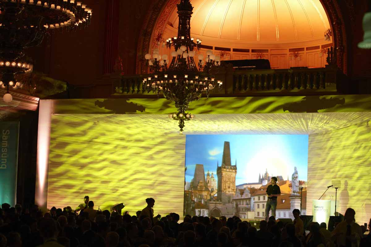 Custom stage design was used in Prague event production by Maxin PRAGUE