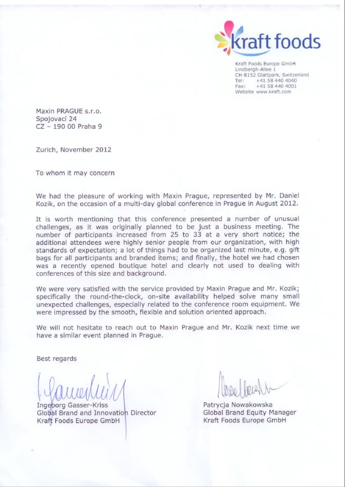 Letter of commendation from leading food production company after successfully organized meeting in Prague