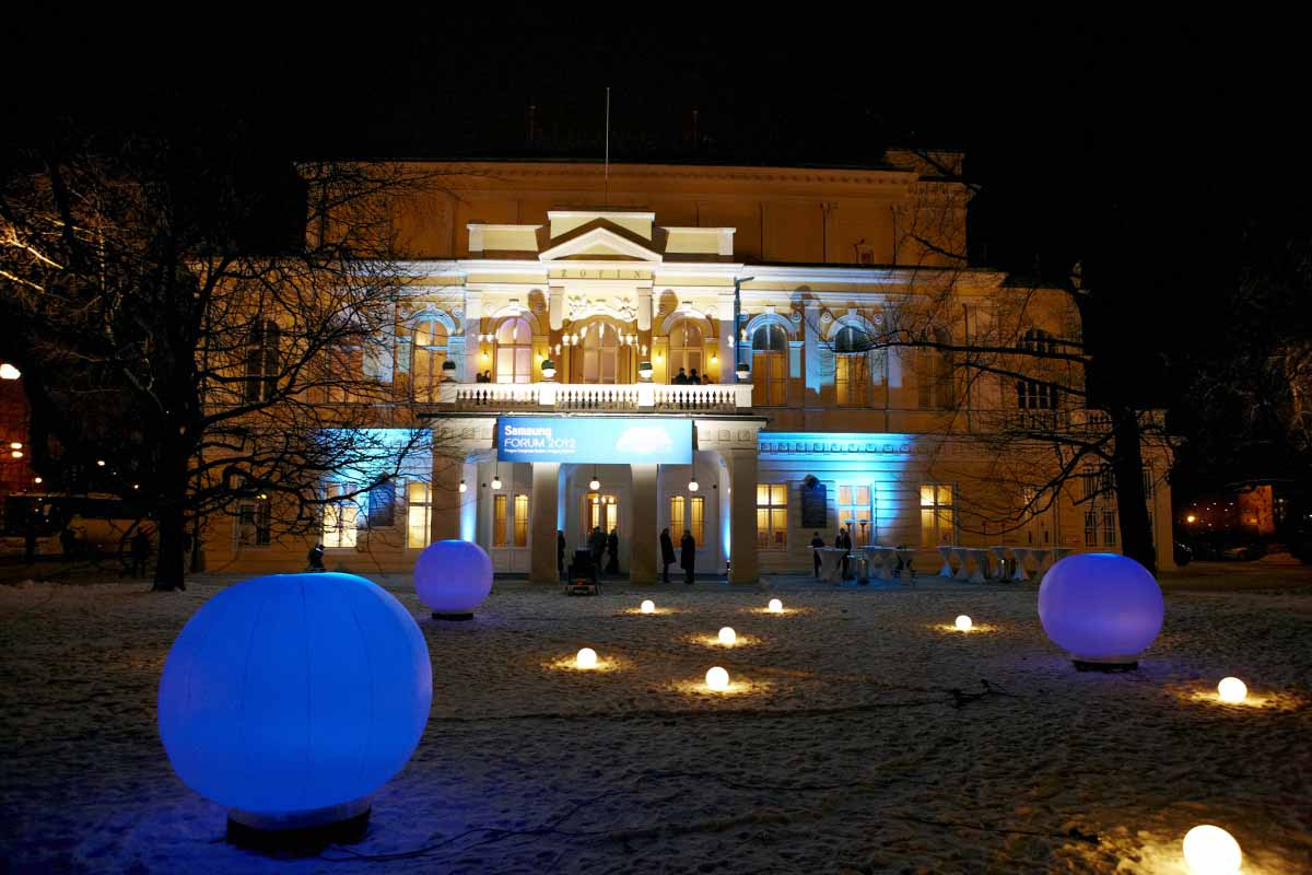 Outdoor of Prague palace used as professionally adjusted event venue