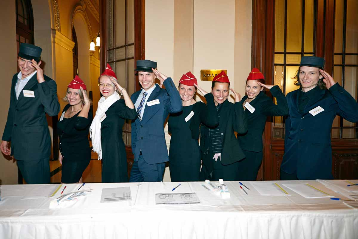 Organizing staff dressed in costumes during annual year end event in Prague