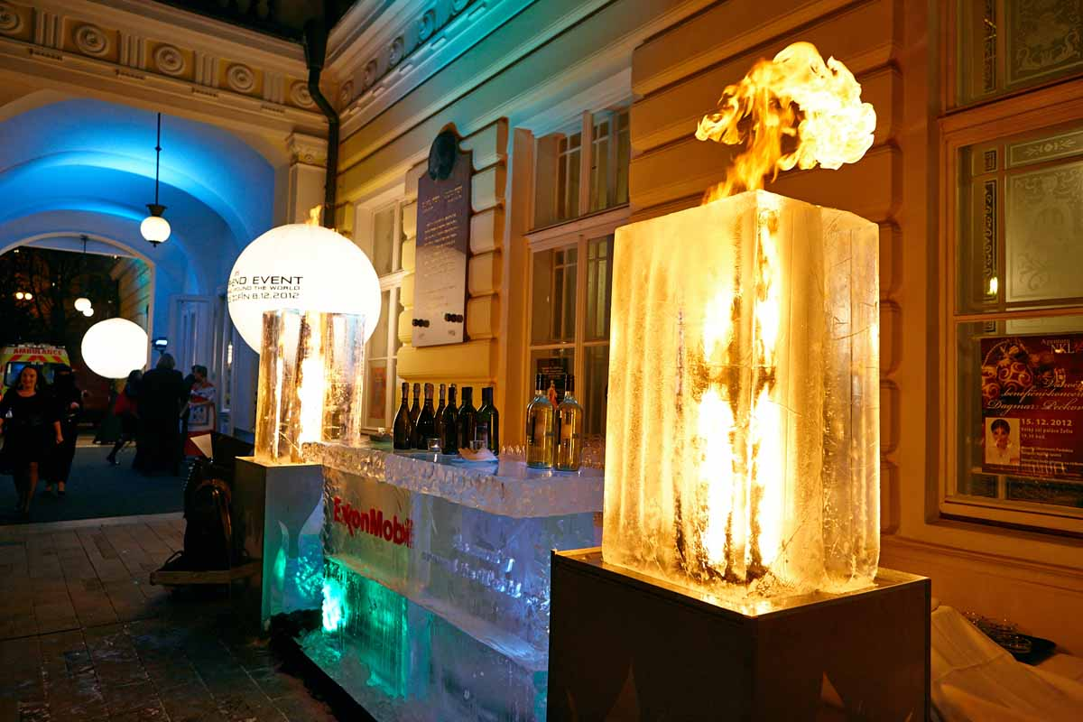 Outdoor ice bar designed specifically for the evening event in Prague