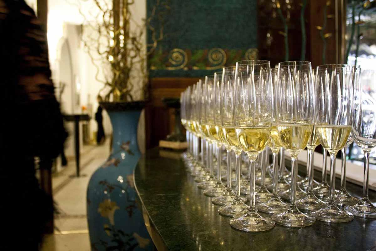 Prague art noveau restaurant welcome drink detail at gala event by Maxin PRAGUE