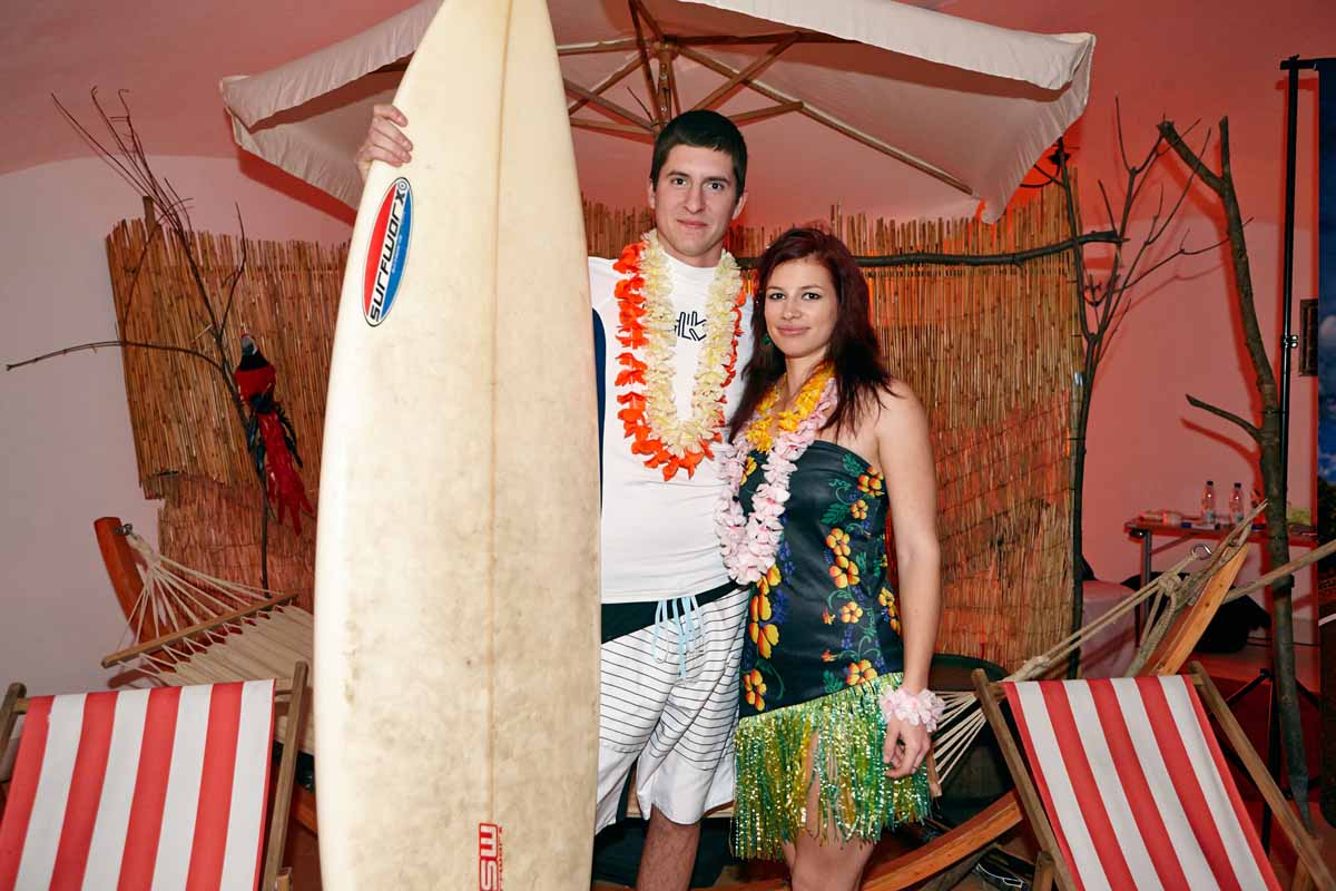 Surfing corner was part of the entertainment professionally organized for guests of event in Prague