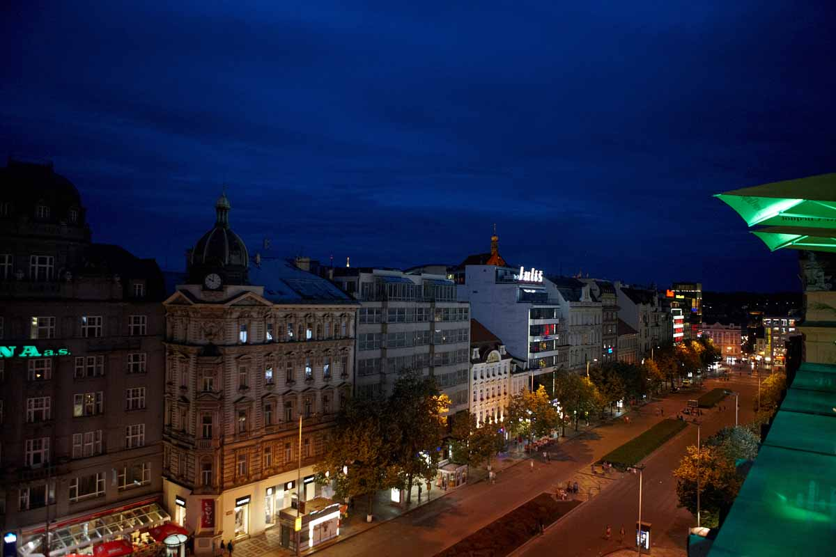 Wenceslas square view from event venue terrace in Prague