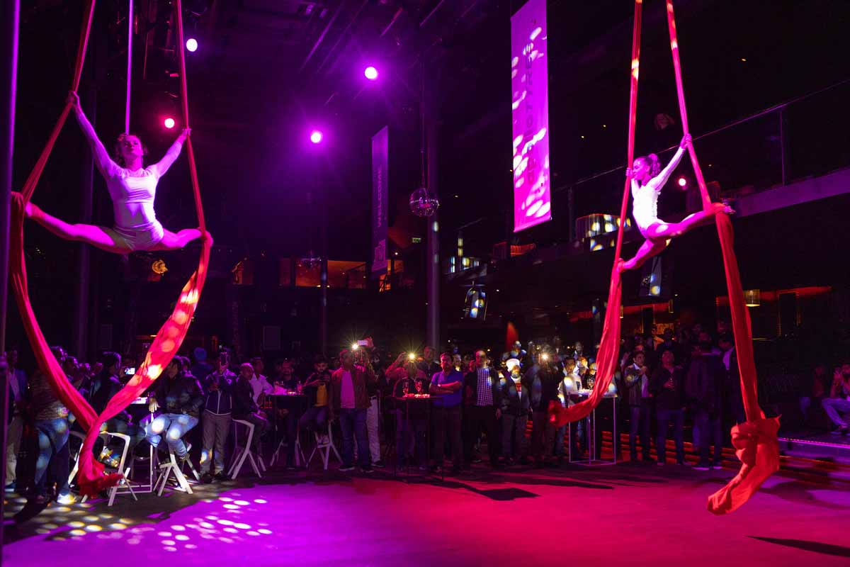 Aerial acrobatics show organized by maxin PRAGUE for this big incentive event