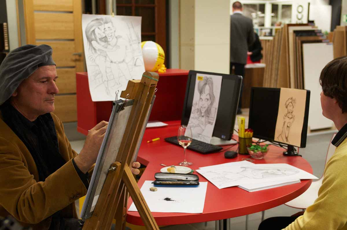 Caricaturist was organized by Maxin PRAGUE to entertain Prague grand opening event