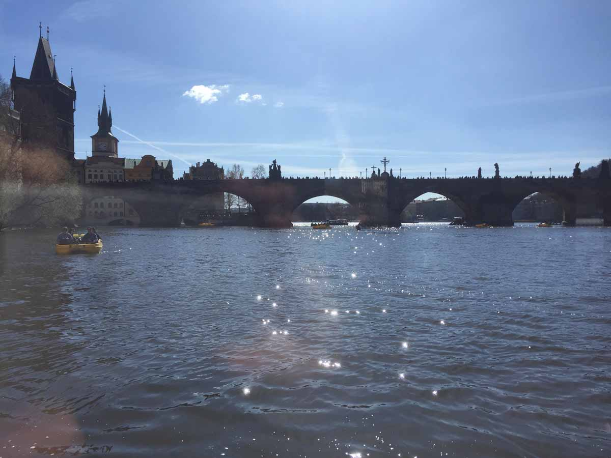 Charles bridge from the river during event for Brazilian tobacco company