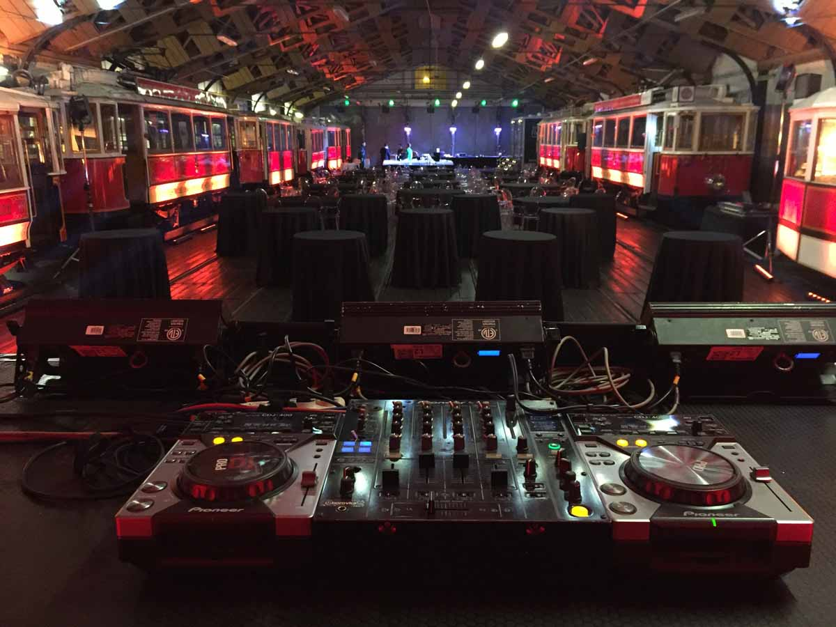 DJ stand at the Prague vintage tram depot teambuilding venue