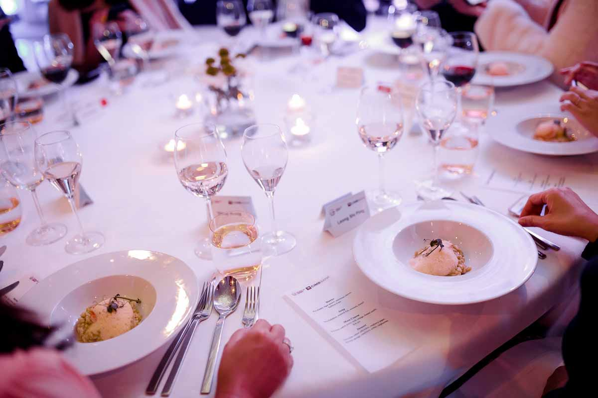 Detail of the gala dinner table setup at Prague incentive