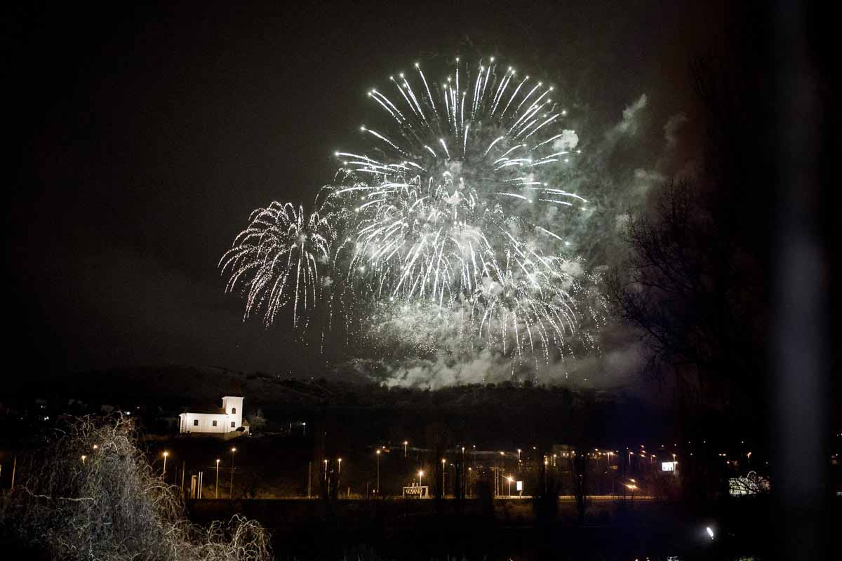 Fireworks during the incentive program near Prague