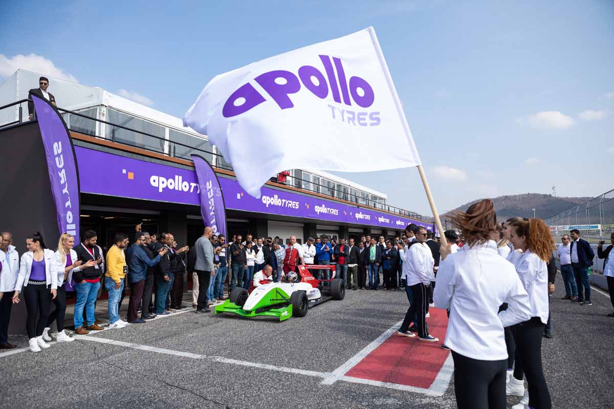 Formula car show during the big incentive program for a tyre producer
