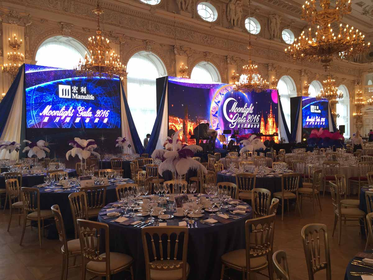 Gala setup in a beautiful hall at the Prague castle for a big incentive program organization