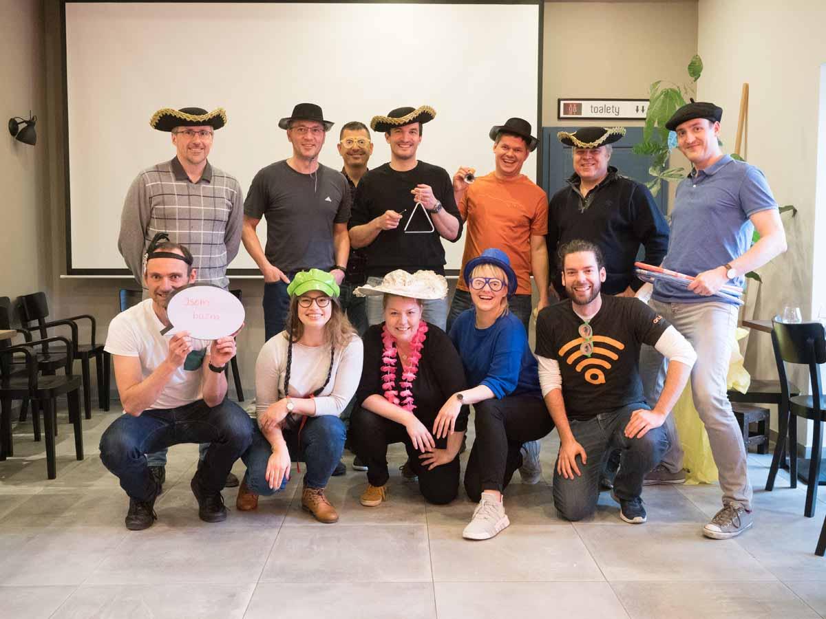 Group of teambuilding participants near Prague