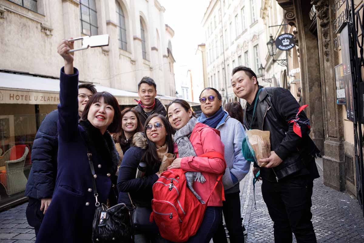 Guests of the Prague incentive program having fun in the streets of Prague