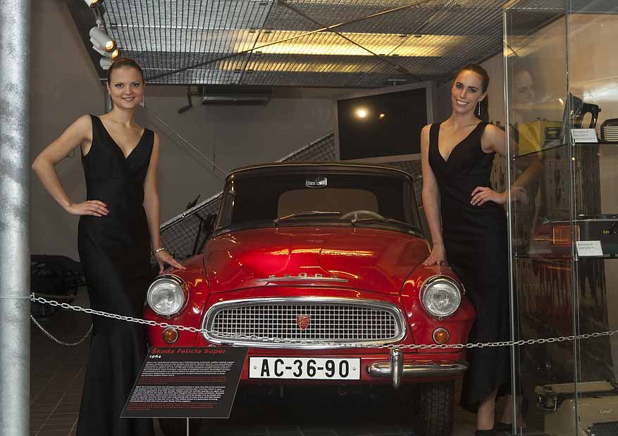 Hostesses by vintage Skoda car at Prague event organized by Maxin PRAGUE