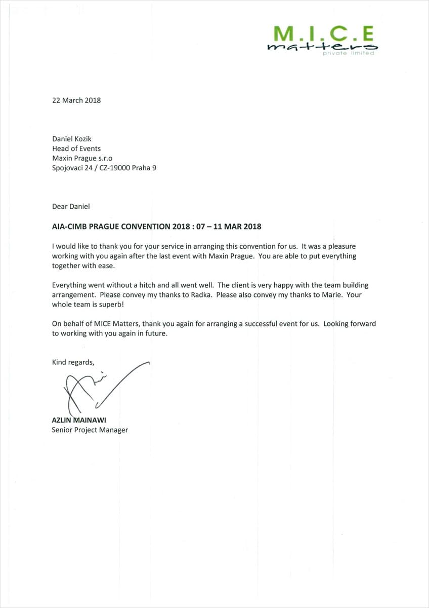 Letter of commendation to Maxin PRAGUE for successfull incentive program organization