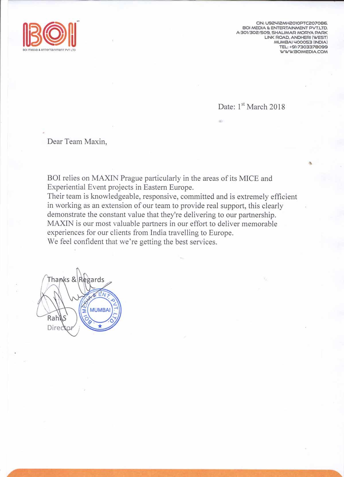 Maxin PRAGUE byl doručen tento krásný testimonial za úspěšnou organizaci konference a ceremoniálu předávání cen v Praze