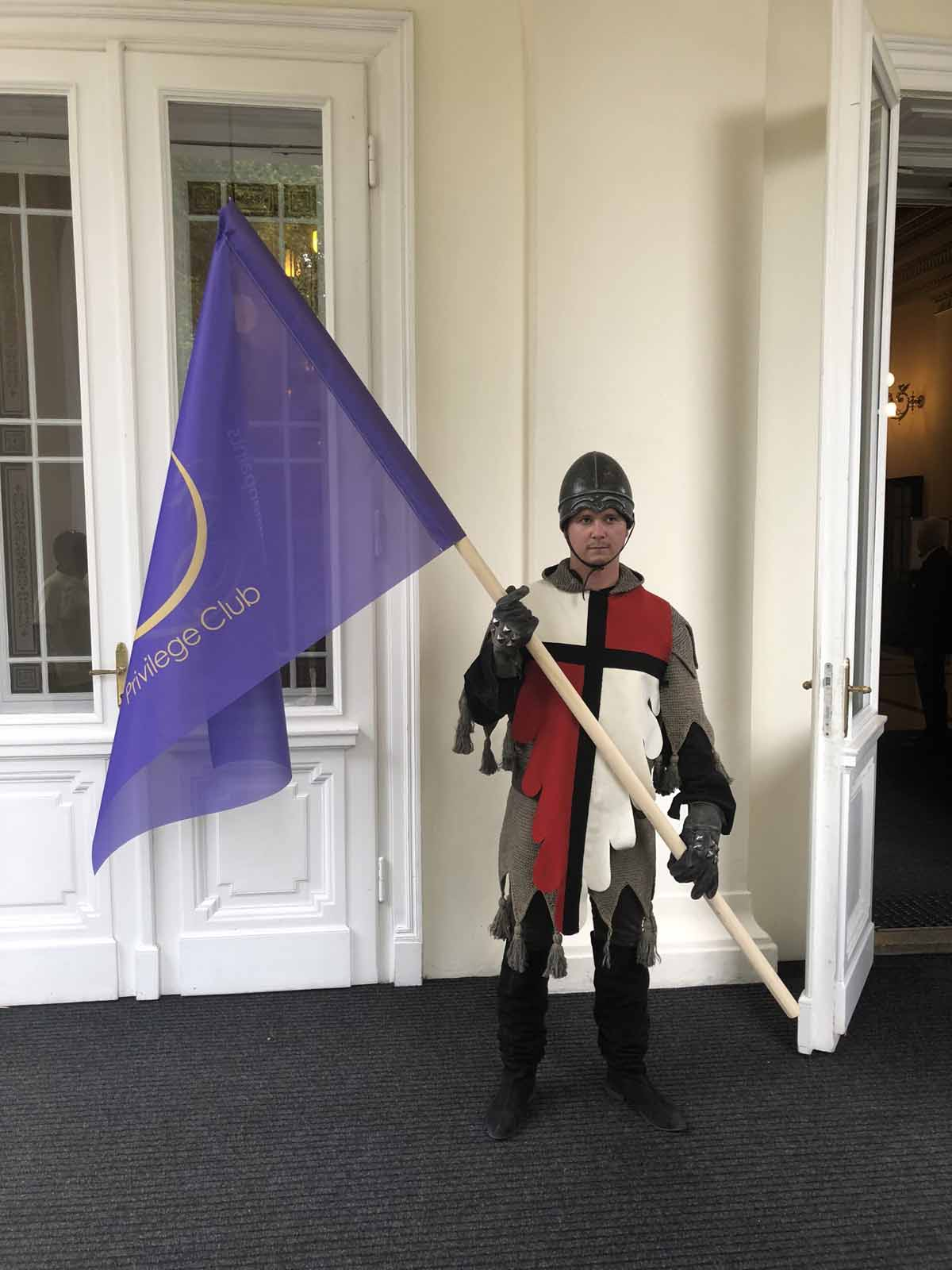 Medieval soldier waiting for guests of the Prague incentive program