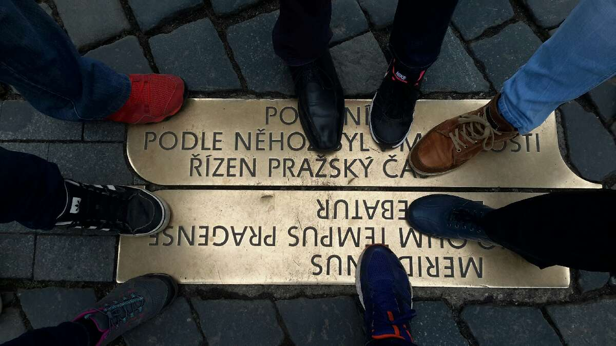 Moment from high tech treasure hunt teambuilding in Prague