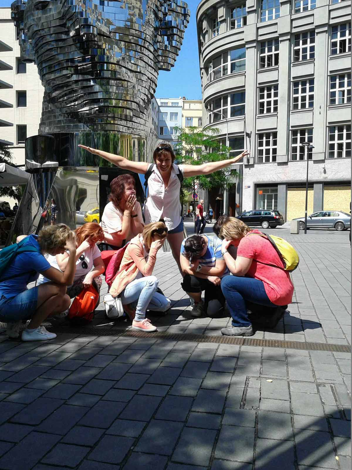Participants having fun during the teambuilding program we organized in Prague