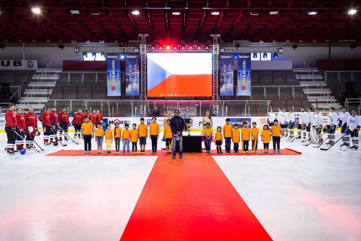 Private ice hockey match as a Czech national sport at incentive program in Prague