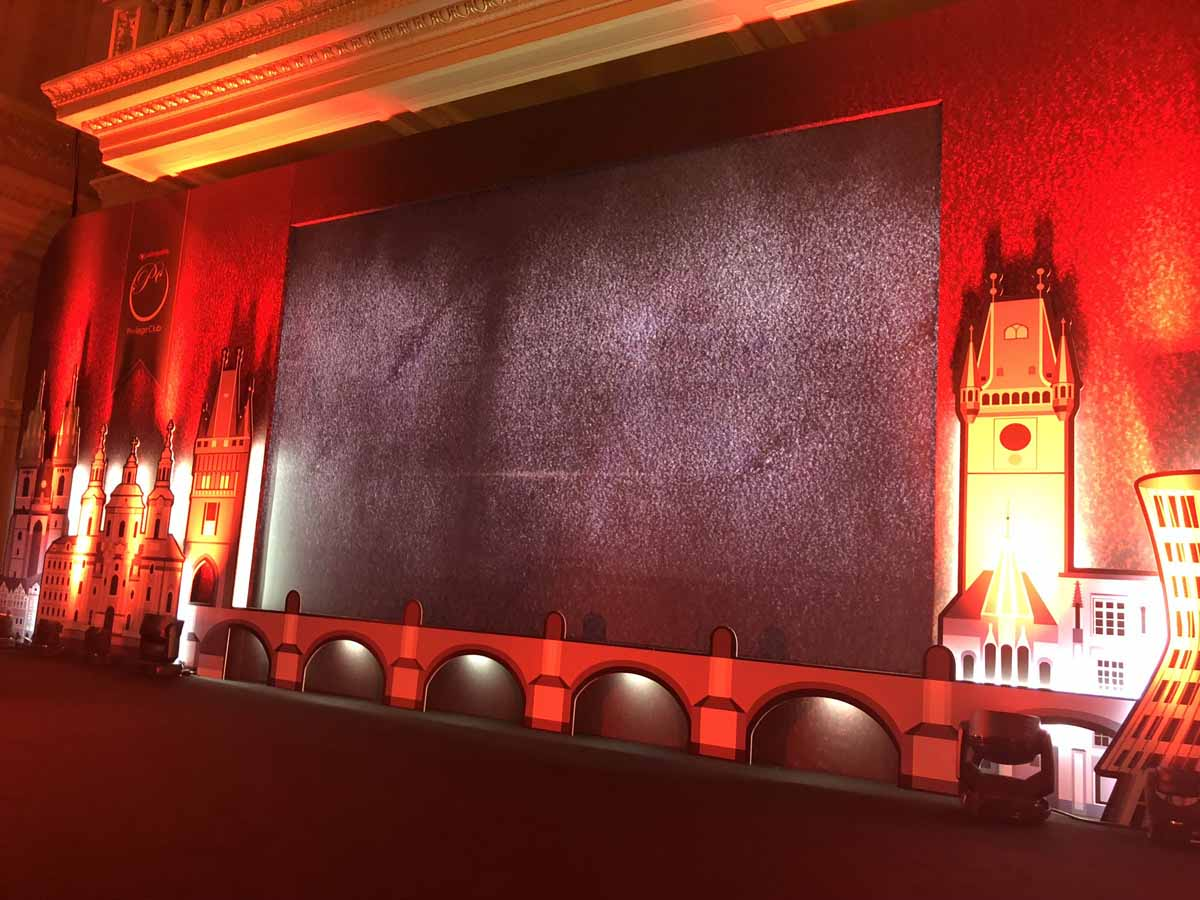 Professionally decorated LED screen at the Prague incentive