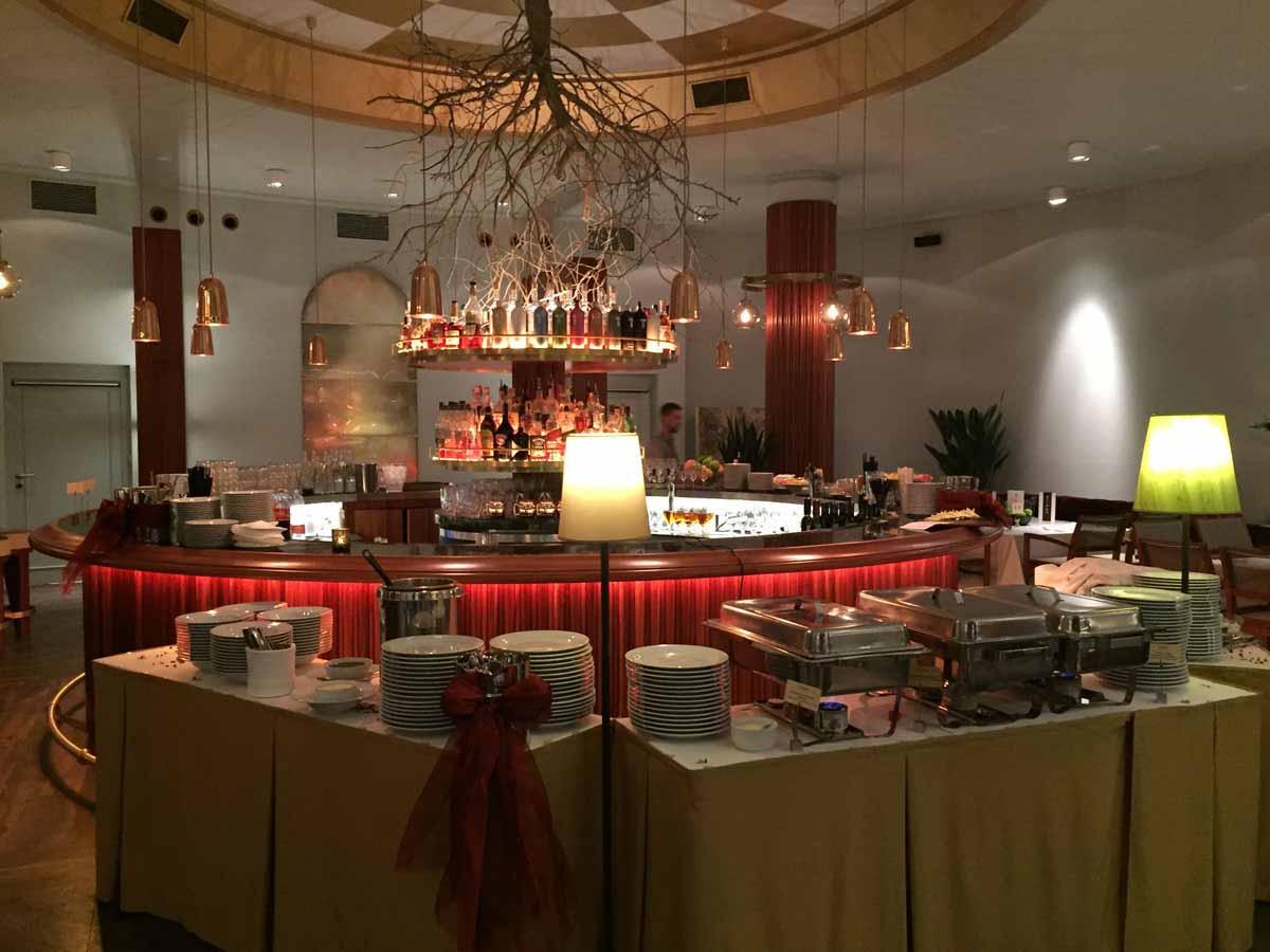 Restaurant buffet setup detail durig incentive program in Prague