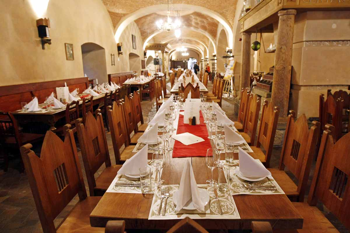 Restaurant interior during Prague social dinners