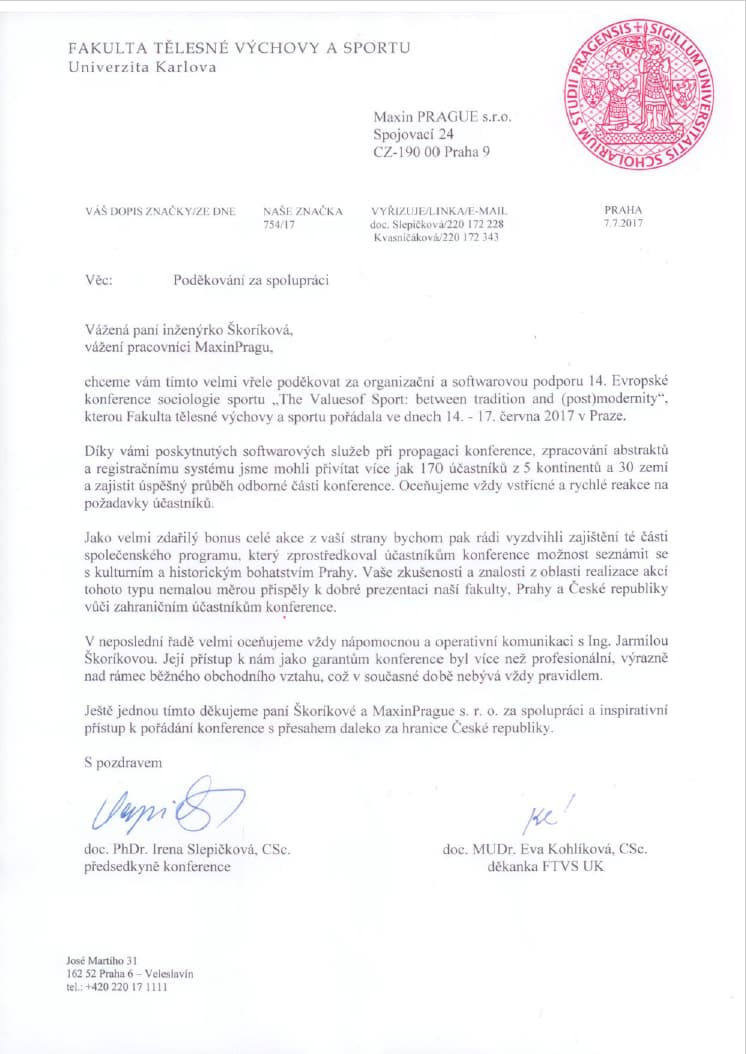 Testimonial for Maxin PRAGUE from the Charles University for successfull conference organization