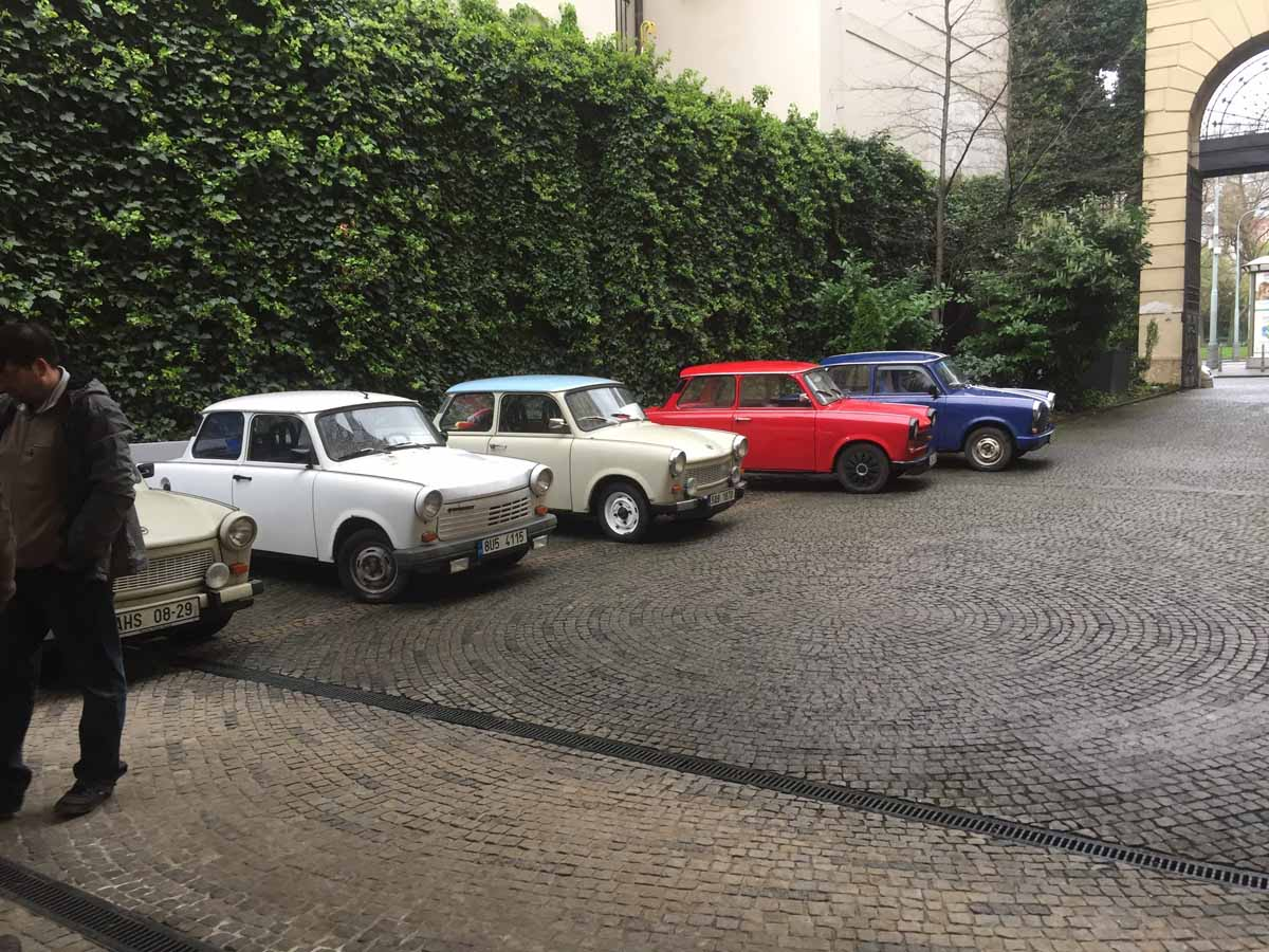 Trabant rally during the event organized in Prague for bank clients