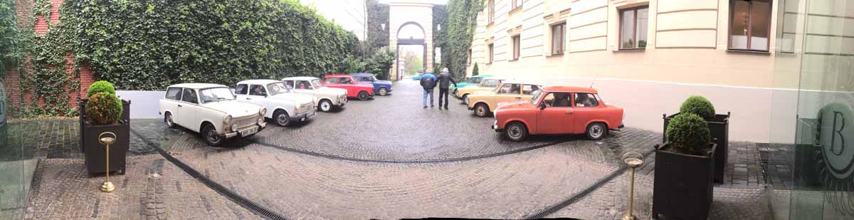 Trabant rally panoramic photograph at event in Prague