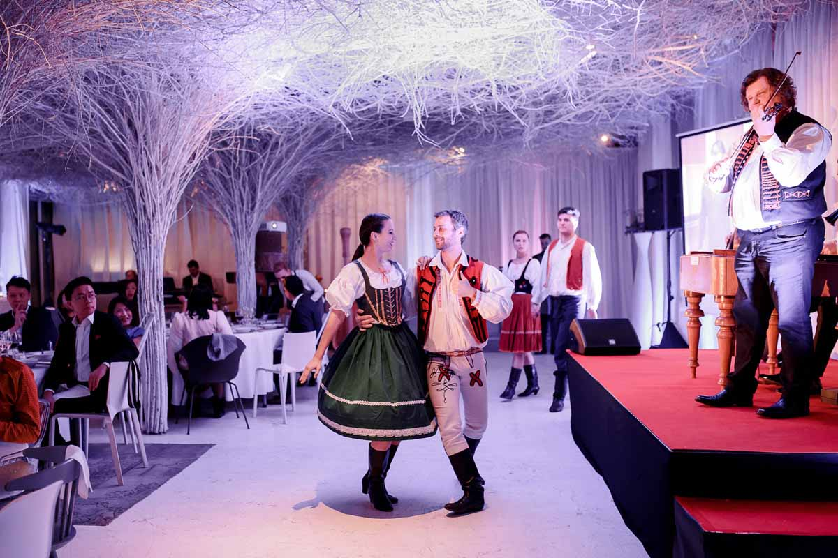 Traditional Czech musicians and dancers at incentive program in Prague