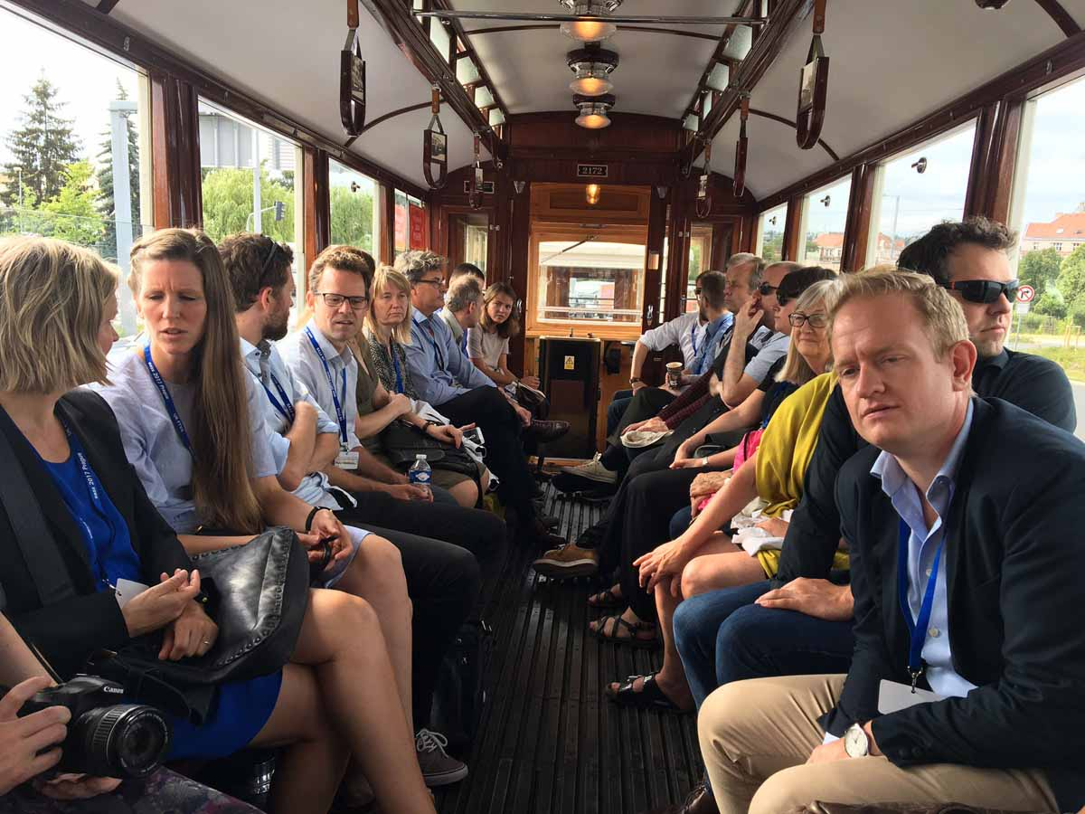 Vintage tram ride during Prague conference for the Charles University