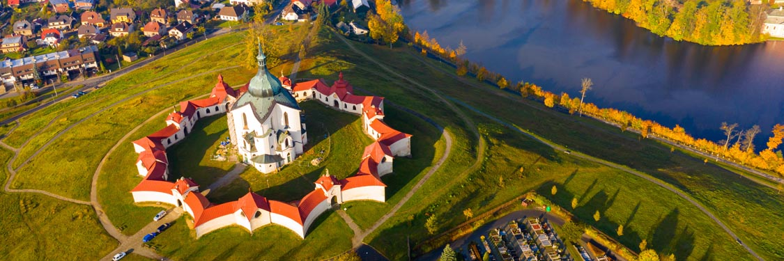 Top view of the church St. John of Nepomuk. Zdar nad Sazavou. Cz