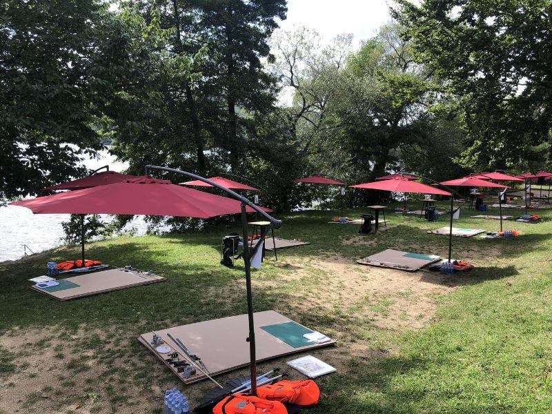 Umbrellas waiting for Maxin PRAGUE Teambuilding participants