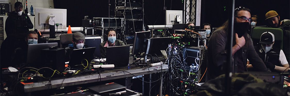 Online event technicians at work during the broadcast
